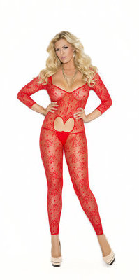 EM-1635Q `Open Heart` lace bodystocking