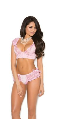 EM-3071 Satin Bralette and Skirted Panties Set