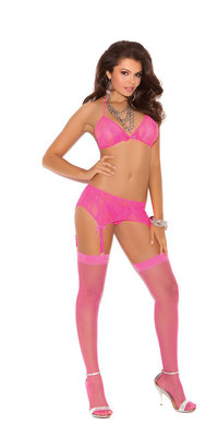 EM-5377 Stretch Lace Bra, Garter Belt, & G-string Set