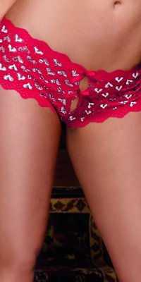 DG1409 `Heart Me` Crotchless Boyshorts