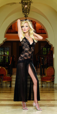 RALingerie.com: DG8489 Stretch Lace And Chiffon Gown