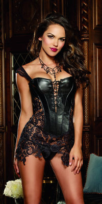 DG9367 Faux Leather and Venice Lace Corset