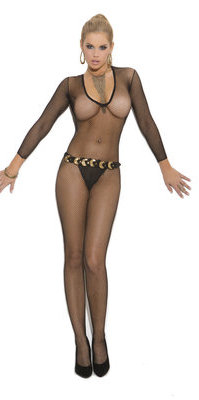 EM1613 Deep V Fishnet Bodystocking
