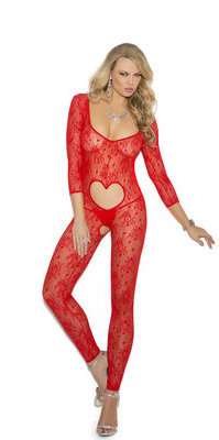 EM-1635 `Open Heart` lace bodystocking