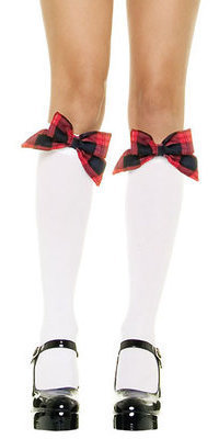 LA5560 Opaque Knee Hi Stockings with Bow