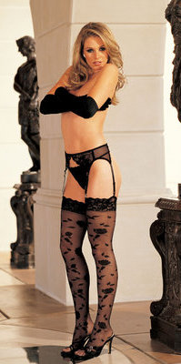 SH5540 Lace Topped Floral Print Stockings